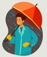 Boy Holding Umbrella vettore