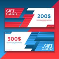 Red Blue Gift Card Voucher Templates Vector