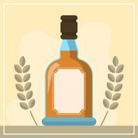 Flat Bourbon Bottle Vector Illustration