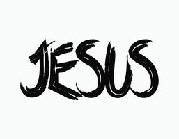 Jesus Paintbrush Lettering vettore