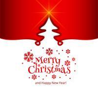 Merry christmas celebration card tree background vettore