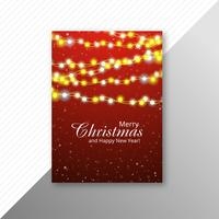 Marry christmas colorful lights flyer template design