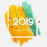 Elegant 2019 happy new year colorful card design vettore