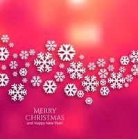 Beautiful merry christmas snowflake card background vettore