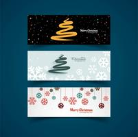 Merry Christmas header set template background illustration