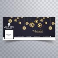 Merry christmas snowflake with facebook banner design template vettore