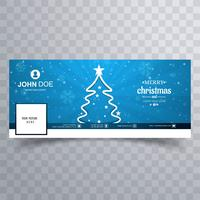 Merry christmas tree with facebook banner template vettore
