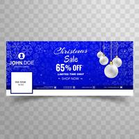 Merry christmas snowflake with facebook sale banner template des vettore
