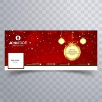 Merry christmas ball with facebook banner template design vettore