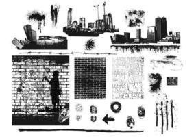 pacchetto di vettore di mattoni e chiazze della città
