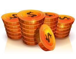 Pila di monete del dollaro per gioco Ui