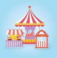 biglietteria della giostra del carnevale del luna park e intrattenimento ricreativo gastronomico vettore