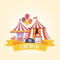 luna park carnevale carosello tenda e biglietteria intrattenimento ricreativo vettore