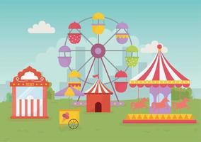 Fiera del divertimento carnevale tenda giostra palloncini ruota panoramica intrattenimento ricreativo vettore