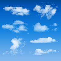 Forme di nuvole su sfondo blu cielo vettore