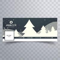 Buon albero di Natale con il modello di banner di facebook vettore