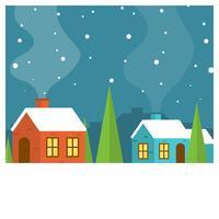 Illustrazione minimalista piana di vettore del villaggio di inverno