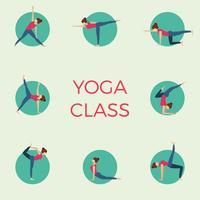 Illustrazione minimalista piana di vettore di posa della classe di yoga