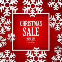Fondo decorativo di vendita di Buon Natale del fiocco di neve vettore