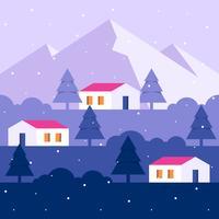 Illustrazione del paesaggio urbano della campagna della neve di inverno
