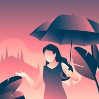 Ragazza che tiene l'ombrello vettore