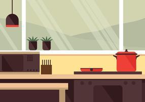 Vista della finestra della cucina vettore