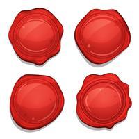 Set di sigilli di qualità di cera rossa vettore