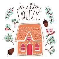 Carino Gingerbread House con noci e foglie