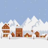 Illustrazione piana di vettore del villaggio di inverno