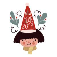 Bambino carino con cappello di Natale, foglie e scritte per il nuovo anno