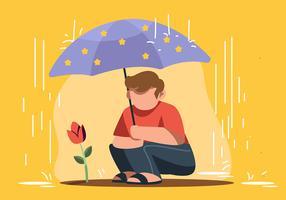 Ragazzo che tiene l'ombrello vettore