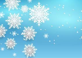 Sfondo di Natale con fiocchi di neve stile 3D vettore