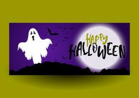 Disegno della bandiera di Halloween con il fantasma vettore