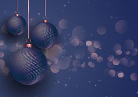 Palline di Natale in oro rosa e blu vettore