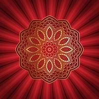 Disegno decorativo mandala su sfondo starburst
