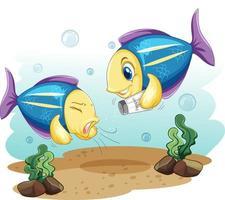 simpatico personaggio dei cartoni animati di pesce con bottiglia di sale vettore