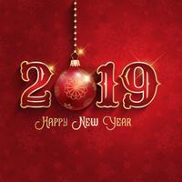 Felice anno nuovo sfondo con gingillo appeso vettore