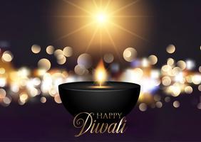 Sfondo di Diwali con luci bokeh vettore