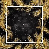 Sfondo di Natale con rami di albero di abete bianco e cornice bianca