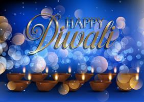 Fondo della lampada di Diwali con le luci del bokeh vettore
