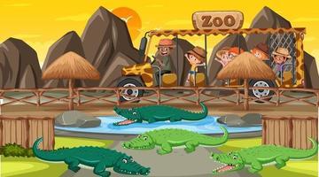 safari alla scena del tramonto con molti bambini che guardano il gruppo di alligatori vettore