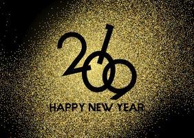 Sfondo di felice anno nuovo glitter oro vettore
