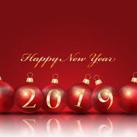 Felice anno nuovo sfondo con palle di Natale vettore