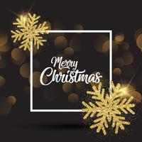 Sfondo di Natale con fiocchi di neve scintillanti e cornice bianca vettore