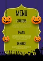 spooky menu design di halloween vettore