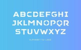alfabeto stile carta bianca. carattere della linea del segmento del nastro, tipo di applique per logo moderno, monogramma elegante, tipografia artistica, titolo moderno. lettere in stile bastone, design tipografico vettoriale