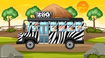 scena dello zoo naturale con bambini nel bus dello zoo vettore