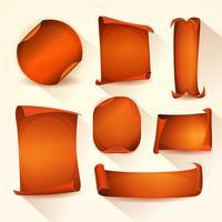 Set di scudetti arancioni e pergamena vettore
