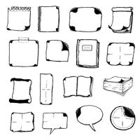 Appunti, bolle di discorso e icone dell'ufficio