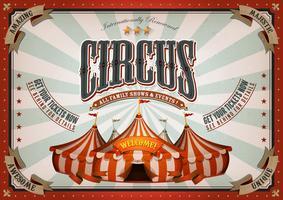 Poster vintage del circo con la parte superiore grande vettore